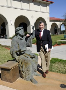 RCC's Musil and St. Leo relaxing on campus.