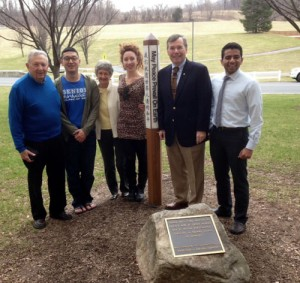 Dr. Musil with Dr. Jim Jones and medical student leaders at the Penn State Medical College Peace Pole