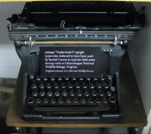 """Antique """"Underwood 5"""" upright typewriter, believed to have been used by Rachel Carson to type her field notes during visits to Chincoteague National Wildlife Refuge, Virginia."""