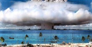 Atomic bomb test at Bikini Atoll after World War II