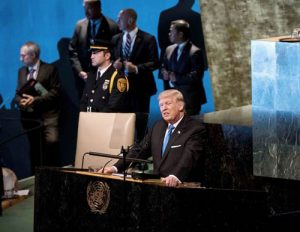 Donald Trump speaking at the UN