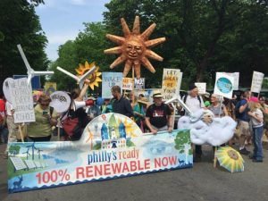 image of renewable energy march in Philadelphia
