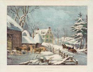 "image of Currier & Ives ""Winter Morning"" painting"