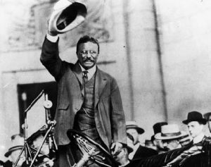 Image of Theodore Roosevelt campaigning