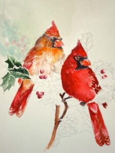 image of a cardinal painting