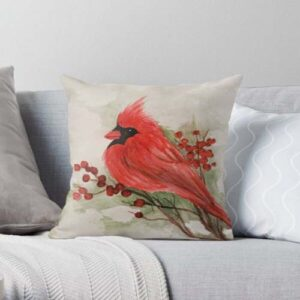 image of cardinal on pillow
